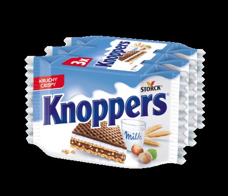 Knoppers 3 kosi - Polnjeni hrustljavi vafelj z mlečno in lešnikovo kremo (mlečna krema 30,4 %, lešnikova krema 29,4 %)