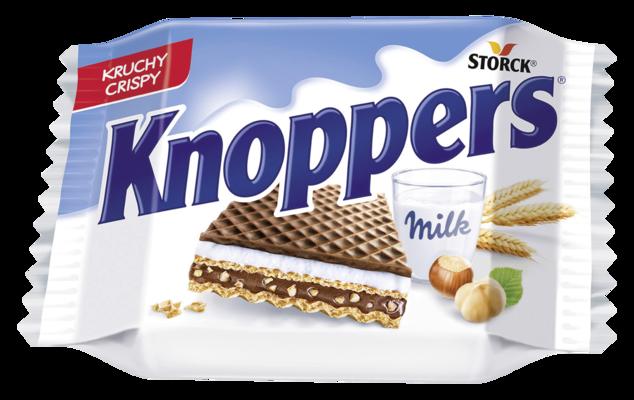 Knoppers - Polnjeni hrustljavi vafelj z mlečno in lešnikovo kremo (mlečna krema 30,4 %, lešnikova krema 29,4 %)