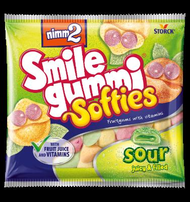 nimm2 Smilegummi Softies kisli - Mehki, polnjeni sadni gumijevi bonboni z vitamini in jogurtom iz posnetega mleka