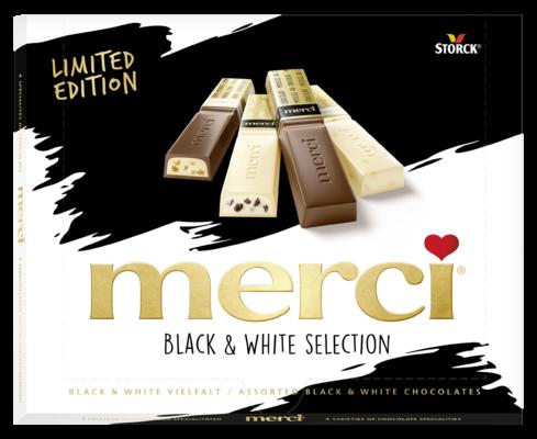merci Finest Selection Black & White izbor polnjenih in ne polnjenih čokoladnih specialitet 240 g - Izbor polnjenih in ne polnjenih čokoladnih specialitet.