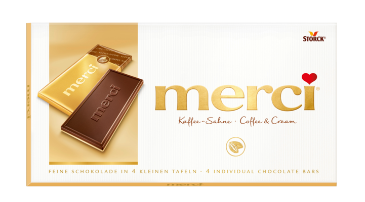merci čokolada z okusom kave - Mlečna čokolada z okusom kave (55%) in bela čokolada (45%)