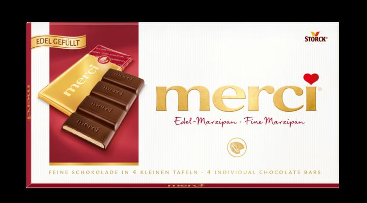 merci čokolada z marcipanom - Temna čokolada polnjena z marcipanom (38 %)