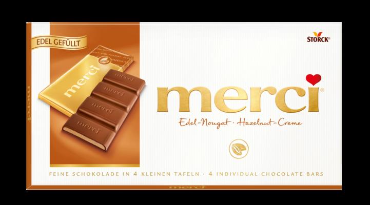 merci nugat čokolada - Mlečna čokolada polnjena z nugat kremo (43 %)