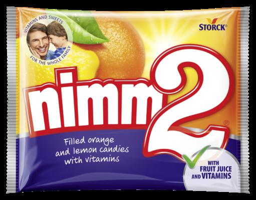 nimm2 trdi bonboni - Trdi polnjeni sadni bonboni z okusom pomaranče in limone, z vitamini