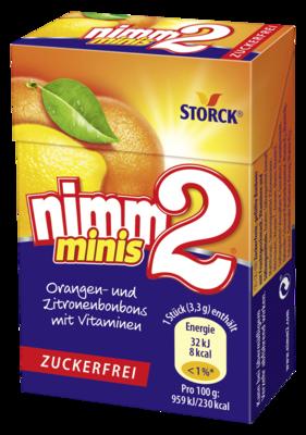 nimm2 Minis brez sladkorja - Polnjeni bonboni z okusom sadja, z vitamini, brez sladkorja, s sladili