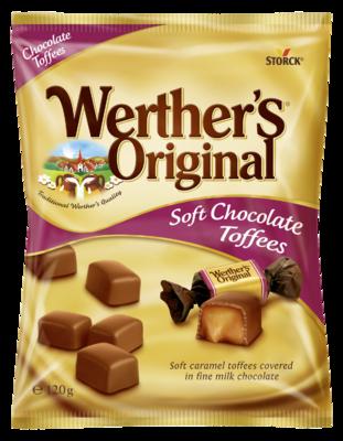 Werther's Original Chocolate Toffees - Mehki karamelni bonboni obliti z mlečno čokolado (30 %)