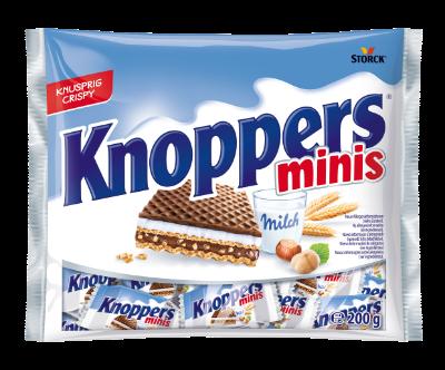 Knoppers minis - Barquillo rellenos (crema de leche 30,4%, crema de praliné 29,4%)