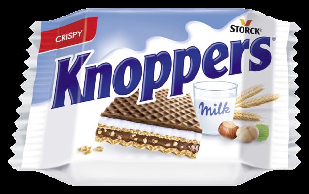 Knoppers - Barquillos rellenos con crema de leche (30,4%) y crema de praliné (29,4%) con cubierta al cacao.