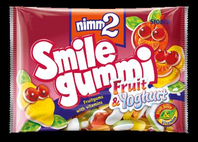 nimm2 Smilegummi fruta & yogur - Caramelos blandos con zumo de frutas y una capa de leche fermentada desnatada (40%), con 6 vitaminas