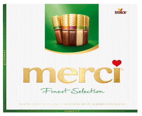 merci Crispy Almond Variety 250g - Surtido de especialidades de chocolate con crujientes trozos de almendras (9,2%)