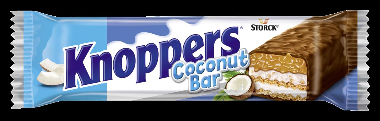 Knoppers Nutbar Cocos - Rån/Vaffelbar med mjölkkräm/mælkecreme (14,4%), kokoskräm med hasselnötter/hasselnødder (17%), kokos (6,5%) och mjuk kola/blød karamel (26,1%), överdraget/overtrukket med mjölkchoklad/mælkechokolade (29,5%)