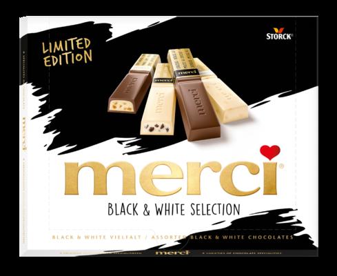 merci Black & White - Chokladpraliner med och utan fyllning