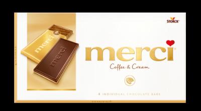 merci Tablets Coffee & Cream - Kaffe-gräddchoklad/flødechokolade (55%) och vit choklad/hvid chokolade (45%)
