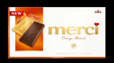 merci Tablets Orange-Almond - Mörk choklad/Mørk chokolade med bitar/stykker av mandel (6%) och koncentrerad apelsinjuice (2%)