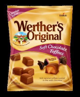 Werther's Original Soft Chocolate Toffees - Mjuka/Bløde/Myke kolor/karameller täckt/overtrukket med mjölkchoklad/mælkechokolade (30%)