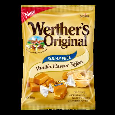 Werther's Original Sugar Free Chewy Vanilla - Sockerfri gräddkola med vaniljsmak/Sukkerfri flødekaramel med vaniljesmag. Innehåller sötningsmedel/Indeholder sødestoffer.