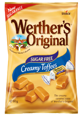 Werther's Original Sugar Free Chewy Caramel - Sockerfri gräddkola/Sukkerfri flødekaramel. Innehåller sötningsmedel/indeholder sødestoffer.