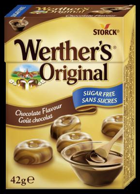 Werther's Original Sugar Free Chocolate Flavour box - Sockerfria/Sukkerfrie gräddkarameller/flødebolsjer/fløtekarameller med chokladsmak/chokoladesmag. Innehåller sötningsmedel/indeholder sødestoffer.