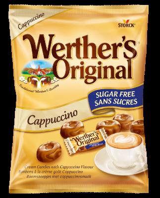 Werther's Original Sugar Free Cappuccino - Sockerfria gräddkarameller med cappuccinosmak. Innehåller sötningsmedel.