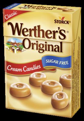Werther's Original Sugar Free Cream Candies box - Sockerfria gräddkarameller. Innehåller sötningsmedel.